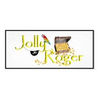 Jolly Roger Text w/Pirates Treasure Chest Full Color Rack Card