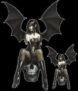 Aufkleber Set Vampir Totenkopf Pin Up Girl Gotisch 17x11cm Vampire