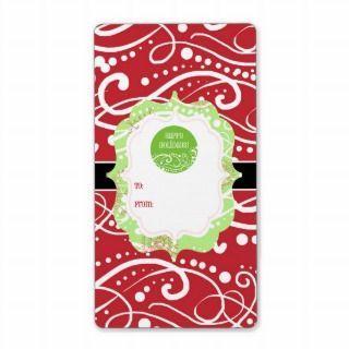 Contemporary Swirls Holiday Gift Tag Stickers Personalized Shipping
