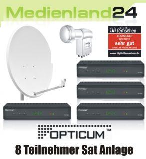Teilnehmer Sat Anlage Digital 4x Opticum HD S60 HDTV 80cm Spiegel