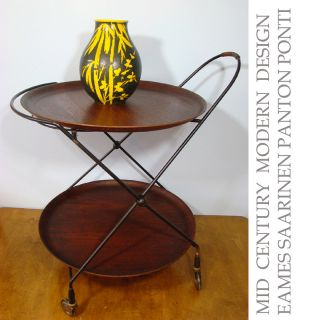 mid century MODERN scandinavian bar cart serving teak & iron design