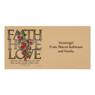 , Floral Design With Bible Verse Photo Card Template