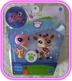 Littlest Pet Shop ♥☆ GLITZER GIRAFFE #2348 & VOGEL STRAUß #2349