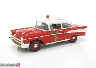 Highway61 118 Chevy Bel Air Sedan 1957 Fire Chief Feuerwehr NEU