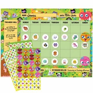 MOSHI MONSTERS CHILDRENS KIDS REWARD CHART SCHOOL STATIONERY BRAND NEW