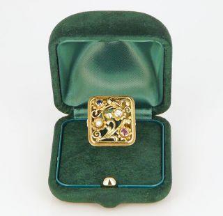 Antikschmuck ART DECO Gemüsering RING 585 Gold Altschliff Diamant