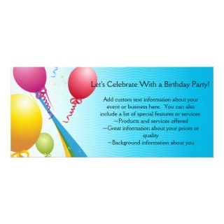 Colorful Balloons  Curly Ribbons Rack Cards