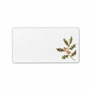 Old Fashion Holiday Christmas Vintage Holly Branch Custom Address