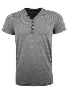 Eight2Nine T Shirt Herren V Neck, Knopfleiste, Striped, weiss schwarz