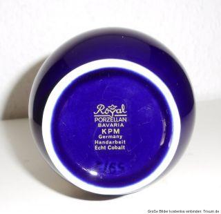 Royal KPM echt Kobalt Blumenvase mit goldenem Blumendekor