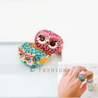 Ring Eule Style Ringe Strass Damen Fingerring NEU 102 0158