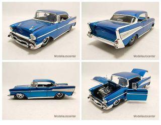 Chevrolet Bel Air 1957 Pro Street blau metallic Modellauto 1 24 Jada