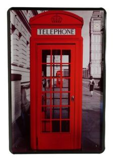 rote Telefonzelle London Big Ben 20 x 30cm Metallschild 95