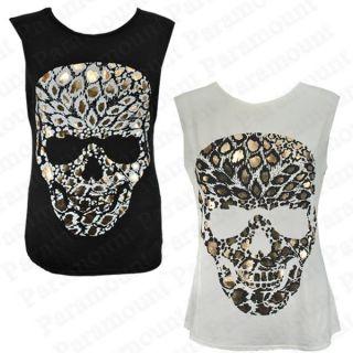 Unterhemd Damen Leopard Totenkopf Ärmellos Top Hemd Shirt Lang