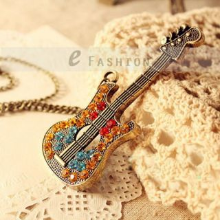 Halskette Gitarre Anhänger Retro Strass Damen Lange Kette necklace
