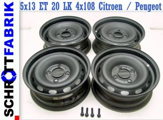 Felgen Stahlfelgen Satz Peugeot 106 Citroen Saxo 5x13 ET 20 LK 4x108