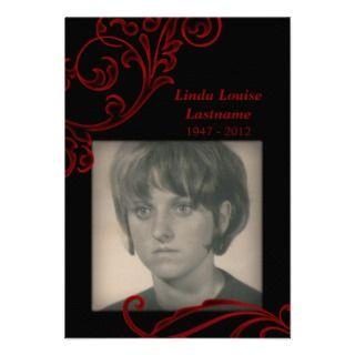 memorial cards : red flourish business card