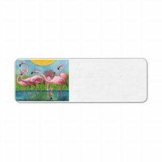 Pink Flamingo Flock Art Custom Address Labels Fun