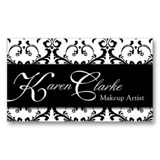 Monogram Makeup Artist Business Card Damask