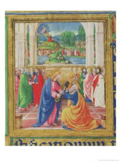 Christ Giving the Keys to St. Peter, from a Psalter Written by Don Appiano, Florence, 1514 15 Giclee Print by Or Di Giovanni Monte Del Fora