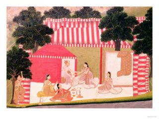 A Prince and His Harem, Mughal, 18th Century (Gouache) Giclee Print