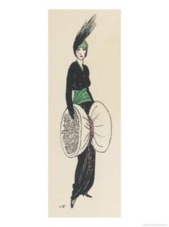 Tango Dress with V Neck Broad Green Cummerbund Giclee Print by Louis Strimpl
