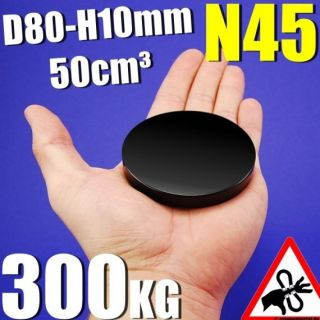 SUPER NEODYM MAGNET BLACK   N45   D80 H10mm   300KG