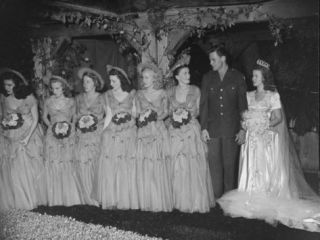 Actress Shirley Temple, 17, in a Gorgeous Satin Wedding Dress with Her Husband and Maids of Honor Premium Photographic Print by Frank Scherschel