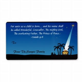 Christian Bible Verse Christmas Custom Gift Tag Custom Shipping Labels