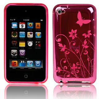 FOR APPLE IPOD TOUCH 4 4TH GEN HOT PINK FLOWER SILICONE GEL SKIN CASE