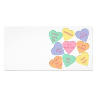 Funny Valentines Day conversation hearts Photo Card