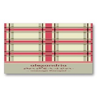 Retro Preppy Plaid Business Cards (silver/pink)