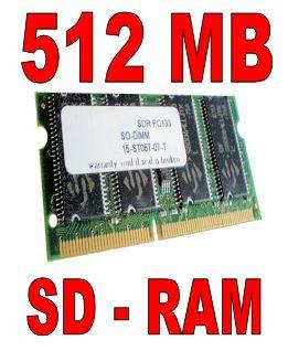 512MB SDRAM SODIMM PC133 512 MB 133 MHz Laptop Notebook Speicher SD