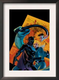Marvel Knights 4 #21 Cover Mr. Fantastic, Invisible Woman and Black Panther Poster by Valentine De Landro