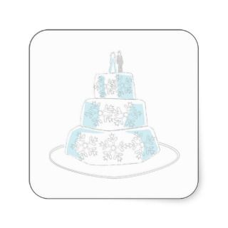 Three Tiered Wedding Cake with Snowflake Trim Stickers