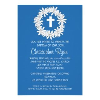 Wreath Baby Boy Baptism Inviation Custom Announcement