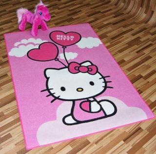 Teppich Kinder Sanrio Hello Kitty Ballons Herzen rosa 95x133cm
