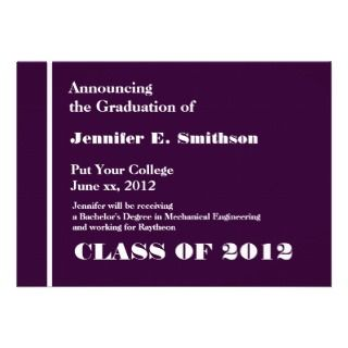 Purple Pink White College Graduation Announcement