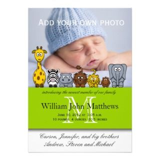 Baby Boy Birth Announcements Jungle Animals Green by monogramgallery