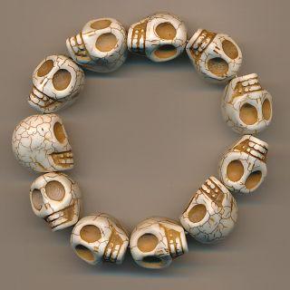 Klasse Armband Totenkopf Skull Buddha Marmor Bracelet 134a