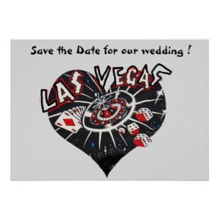 Las Vegas Save the Date Heart Custom Announcement