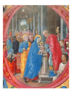 Corale B 26 C.113R Historiated Initial C Depicting the Presentation in the Temple Giclee Print by Tommaso di Baldassare