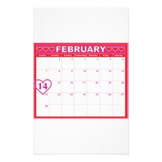Valentines Day Calendar Stationery Paper