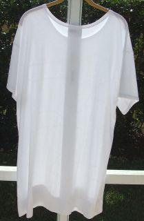 DKNY DONNA KARAN WHITE LONG BIG SHIRT TOP BLOUSE COTTON BLEND COVER UP