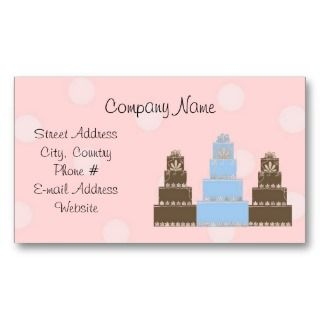 Pink White Polka Dot Designer Cakes Business Card