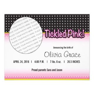 Tickled Pink Baby Girl Announcement