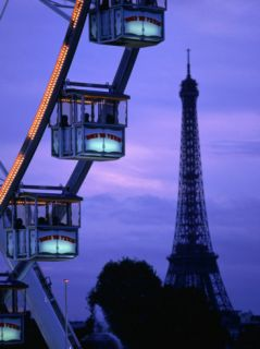 The Paris Ferris Wheel and Eiffel Tower, Paris, Ile De France, France Photographic Print by Doug McKinlay