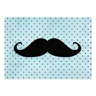 Funny Black Mustache On Teal Blue Polka Dots Invite