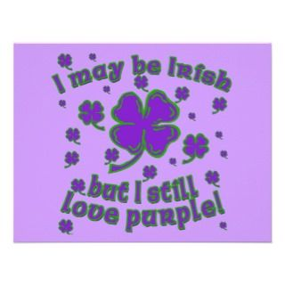 Purple Shamrock St. Patricks Day Design Invitations