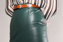 VINTAGE HIGH WAISTED LEATHER PENCIL SKIRT Vtg 80s Green Dyed Bandage